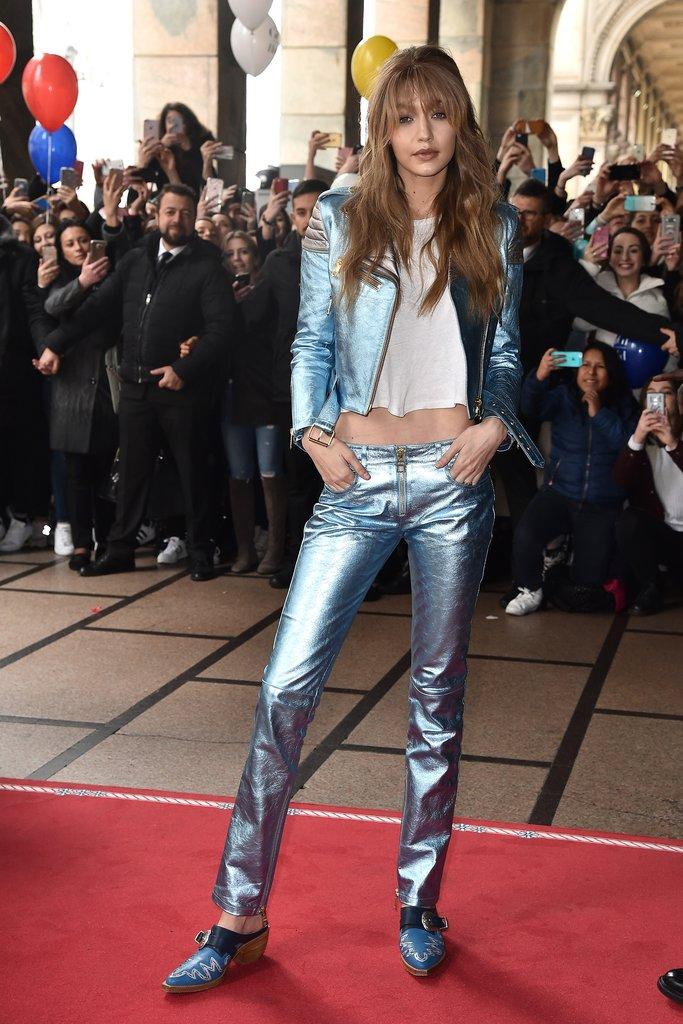 Gigi-styled-her-flashy-blue-pair-metallic-moto-coat-promote